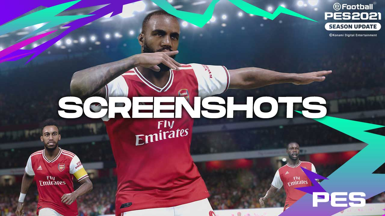 PES 2021 screenshots arsenal aubameyang lacazette pepe